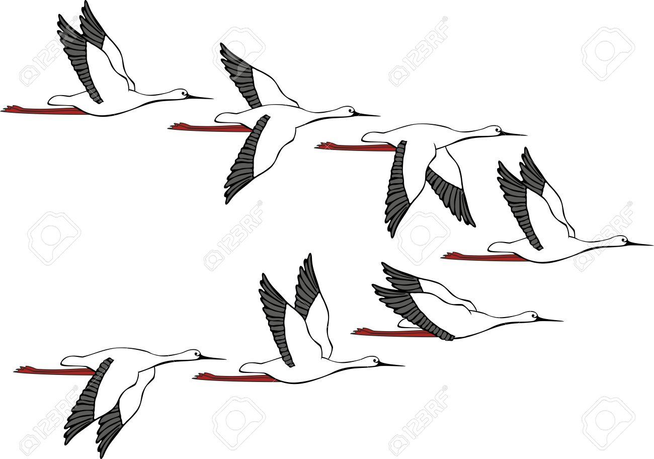 Раскраска журавли летят в небеса